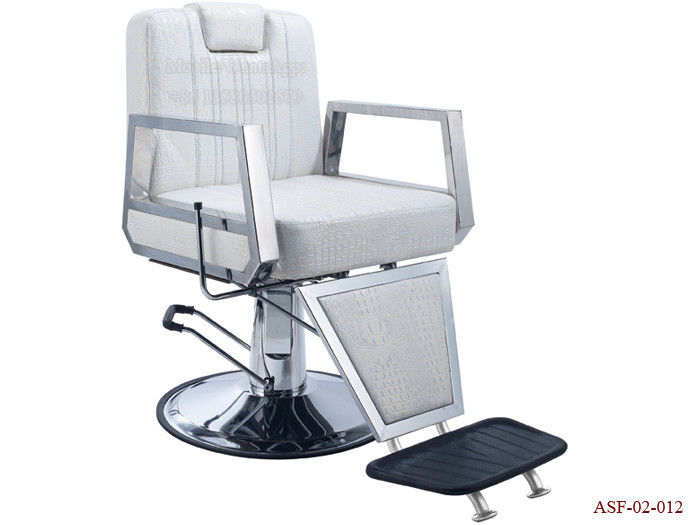 ASF-02-012 Armrest Hydraulic Pump White Barber Chair with Footrest ,Portable Salon Chair