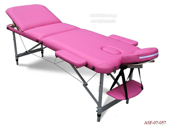 ASF-07-057 New Beauty Furniture Three Sections Aluminum Massage Bed with Face Holes