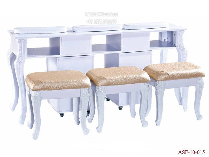 ASF-10-015 Three Nail Table with Three Chairs Set Salon Equipment