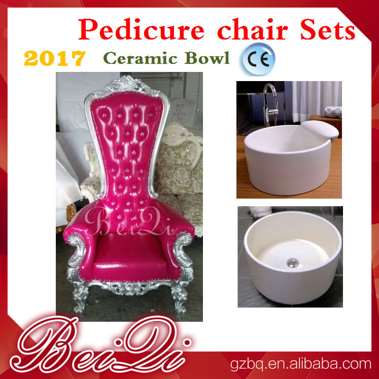 2017 hot sale king throne pedicure chair with round pedicure bowl , Pink spa pedicure chairs for sale