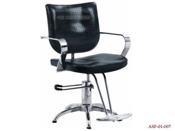 China ASF-01-007 Black Color Synthetic Leather Reclined Backrest Hydraulic Barber Chair Footrest distributor