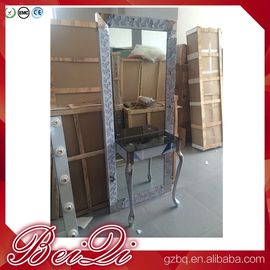 China Dressing table with light mirror used beauty salon furniture gold frame hair salon station mirror distributor