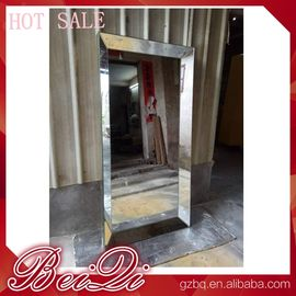 China Stainless steel mirror salon furniture hairdresser wall mounted white modern salon station distributor