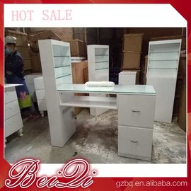 China Modern manicure table vacuum and nail salon furniture cheap nail table white color distributor